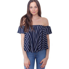 Off Shoulder Top Women's Shirt Loose Slash Blouses Ruffles Sleeve