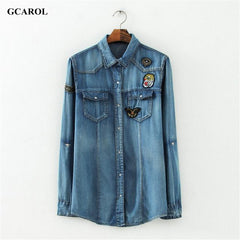 Patch Denim Blouse Two Pockets Denim Shirt