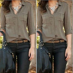 Army Shirt Women Blouse Turn-down Collar Euro Style Chiffon Blouse