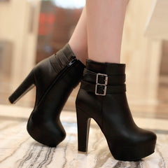 Womens Faux Leather Comfortable Ankle Boots