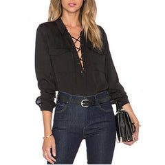Lace Up Turn-down Collar Chiffon Blouse