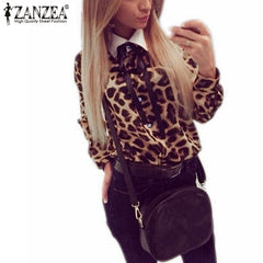 Vintage Leopard Printed Blouse Casual Chiffon Long Sleeve Bow