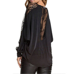 Batwing Long Sleeve Lace Patchwork Blouse