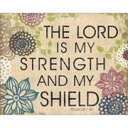 Lord Is My Strength Psalm Burlap Canvas Art