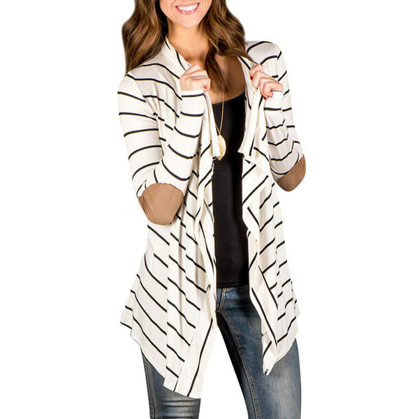 Elbow Patchwork Knitted Sweaters Women Long Sleeves Striped Open Front Cardigan