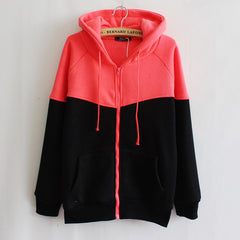 Women Cotton Hoodies Zipper Design Pocket Casual Sweatshirt