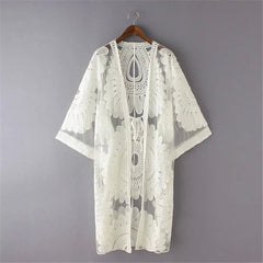 Crochet Lace Long Kimono Cardigan Tops Blouses Beige White