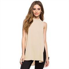 Brief Stand Collar Sleeveless Asymmetrical Chiffon Split Solid Blouse
