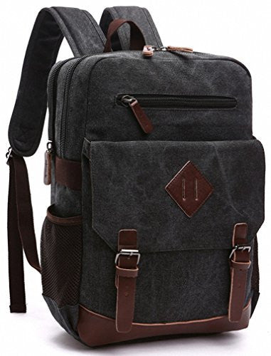 Large Vintage Canvas Backpack School Laptop Bag Hiking Travel Rucksack