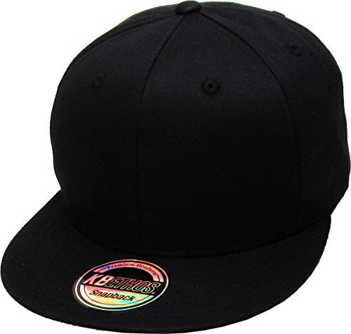 Cotton Snapback Solid Blank Cap Baseball Hat Flat Brim (Various Colors / Adjustable)