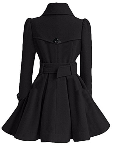 Generic Womens Stylish Double-Breasted Belted Long Peacoats