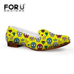 Vintage Style Women Flats Skull Flower Print Lady Loafers