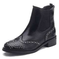 Rivets Women Chelsea Boots Soft Leather Slip on Ankle Boots