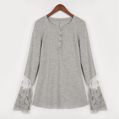 Lace Patchwork Shirts Casual Long Sleeve O-Neck Blouse