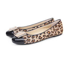 Leopard Genuine Leather women brand designer flats