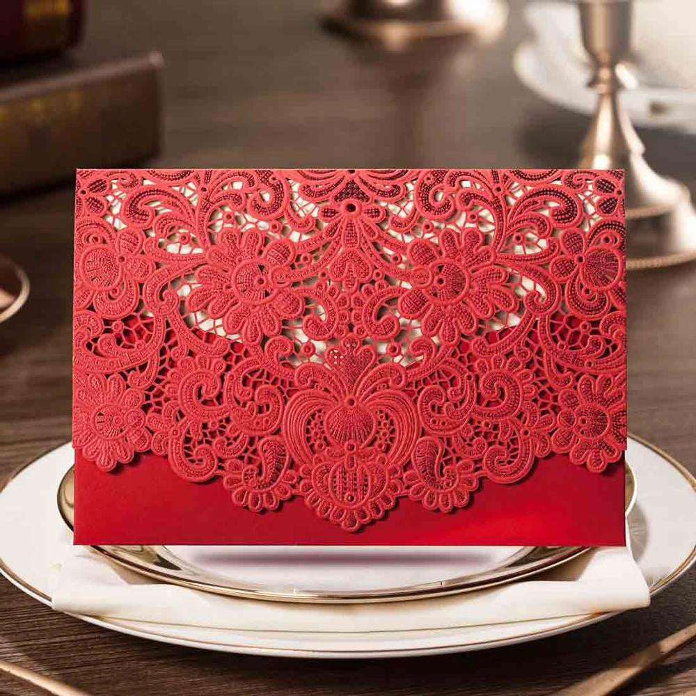 Horizontal Laser Cut Wedding Invitations Cards White Gold Red ...
