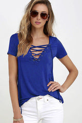 Hollow out Strappy Front Women  Short Sleeve Shirt Blouse