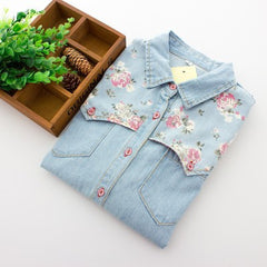 Floral Jeans Blouse Long Sleeve