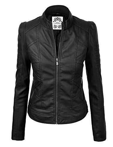 MBJ Womens Panelled Faux Leather Moto Jacket