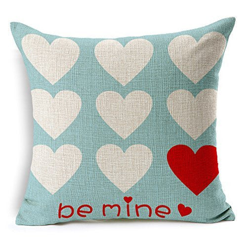 Love Hearts Be Mine Pillow Cotton Linen(Valentine's Day Gift)