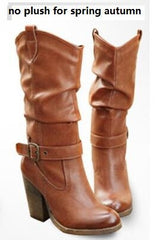 Winter Thick Heels Buckle Retro Women Half Boot