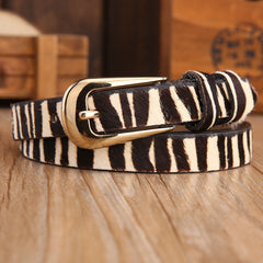 Horse hair leopard print thin belts for women