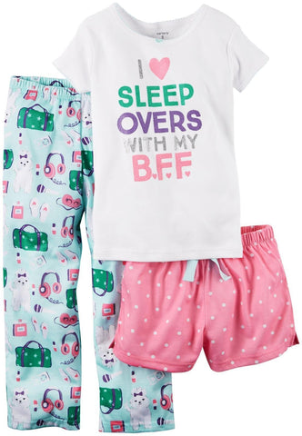 Carter's Girl's 3 Piece Pajama Set, I Love Sleepovers