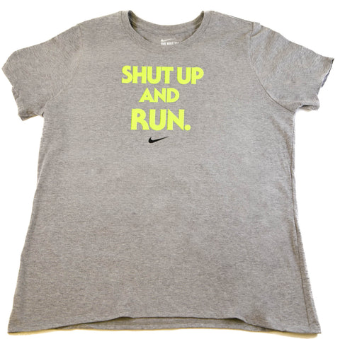 Nike Women's Shut Up and Run Athletic T-Shirt Grey/Volt