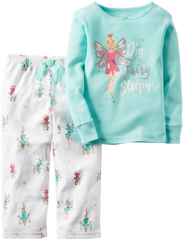 Carters Girl's Pajama Set I'm Fairy Sleepy Mint/White
