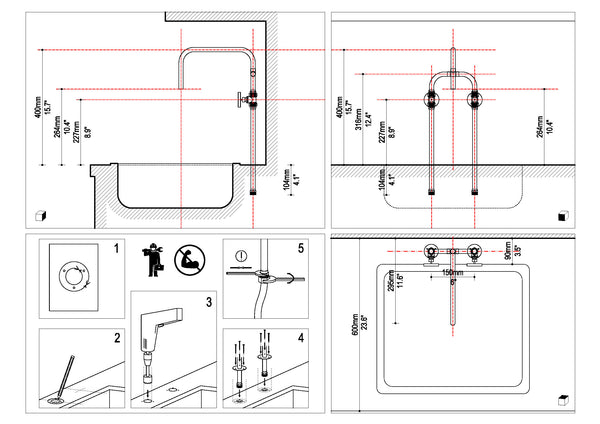 Diagram of Biped deck mount copper tap made by Switchrange