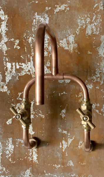 Loop - wall mount industrial handmade copper faucet