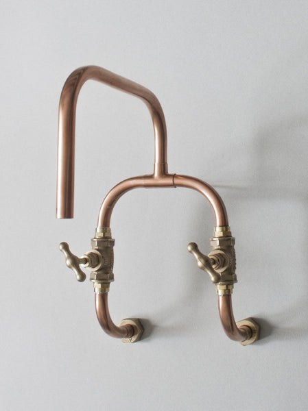 Loop - wall mount industrial handmade copper faucet robinet cuivre