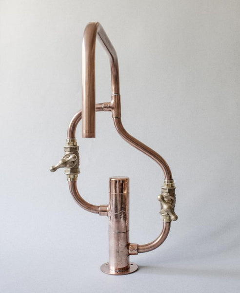 Pedestal Wave - deck mount industrial handmade copper pipe faucet by Switchrange
