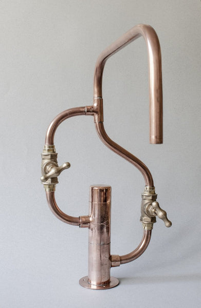 Pedestal Wave - deck mount industrial handmade copper pipe tap by Switchrange