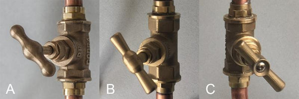 Loop - wall mount industrial handmade copper faucet brass valve