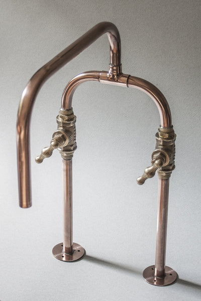 Biped is a deck mount industrial handmade copper tap made by Switchrange