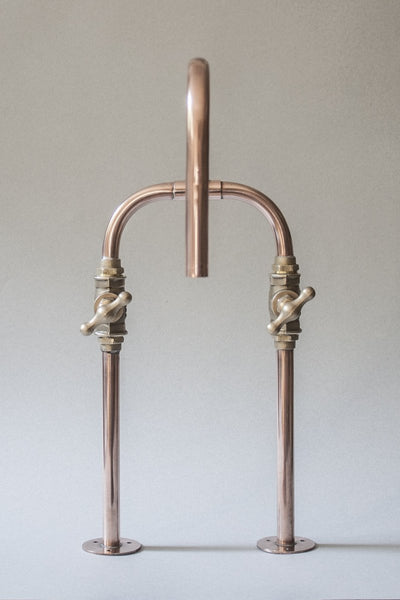 Biped is a deck mount industrial handmade copper pipe faucet made by Switchrange