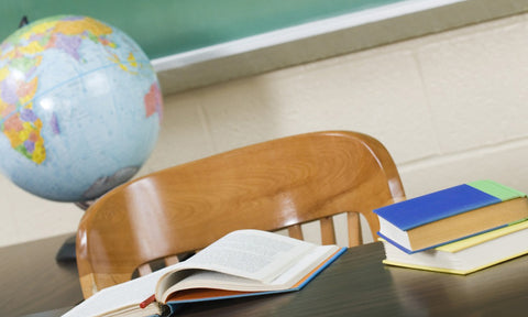 Teacher Appreciation Day with desk, books and globe