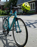 Blue road bike with yellow helmet, I'm amazing magnetic personality