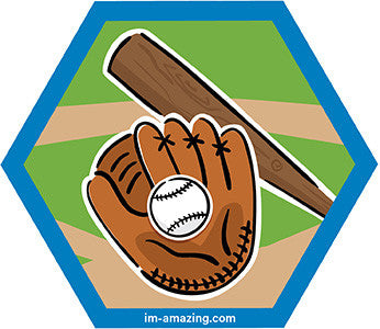 Baseball, glove and bat on hexagon magnet, I'm amazing magnetic personality