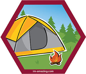 Yellow dome tent and campfire on hexagon magnet, I'm amazing magnetic personality