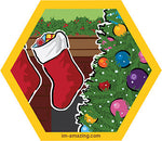 Decorated Christmas tree and stockings on hexagon magnet, I'm amazing magnetic personality