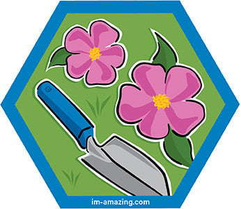 pink wild rose flowers with trowel on hexagon magnet, I'm amazing magnetic personality