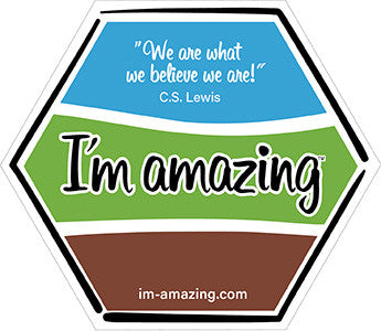 I'm amazing and C.S. Lewis quote on hexagon magnet