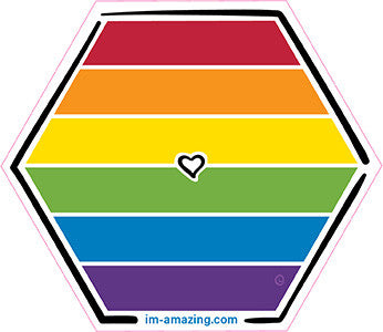 LGBT, lesbian, gay, bisexual and transexual rainbow with heart on hexagon magnet