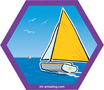 sailboat on ocean or lake on hexagon magnet