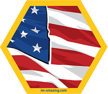 Section of American flag on hexagon magnet