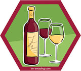 glasses of red and white wine with bottle on hexagon magnet