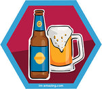 bottle and mug of beer on hexagon magnet, I'm amazing magnetic personality