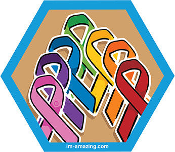 seven rainbow colored ribbons on hexagon magnet